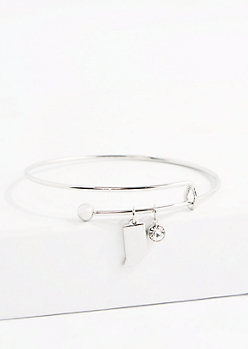 Indiana Silver Crystal Charm Bangle