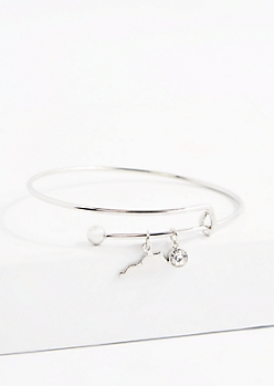 Kentucky Silver Crystal Charm Bangle