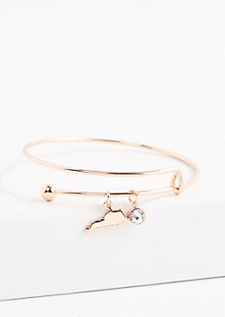 Kentucky Rose Gold Crystal Charm Bangle