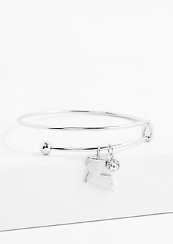 Louisiana Silver Crystal Charm Bangle