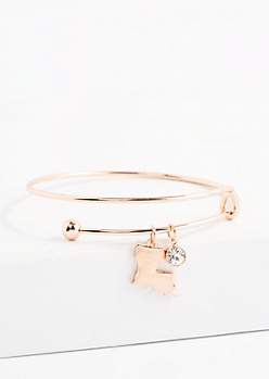 Louisiana Rose Gold Crystal Charm Bangle
