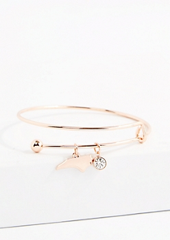 North Carolina Rose Gold Crystal Charm Bangle