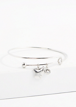 Ohio Silver Crystal Charm Bangle