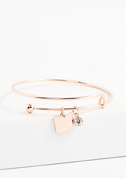 Ohio Rose Gold Crystal Charm Bangle