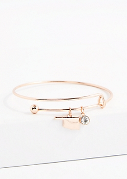 Oklahoma Rose Gold Crystal Charm Bangle