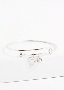 South Carolina Silver Crystal Charm Bangle