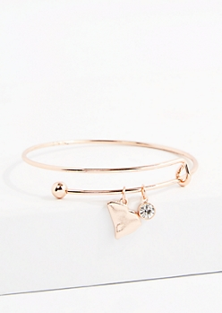 South Carolina Rose Gold Crystal Charm Bangle