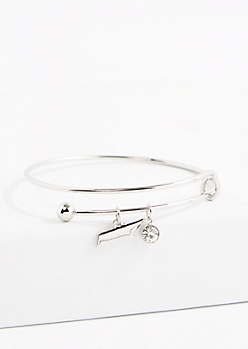 Tennessee Silver Crystal Charm Bangle