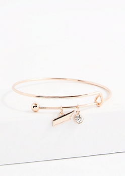 Tennessee Rose Gold Crystal Charm Bangle