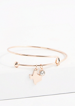 Texas Rose Gold Crystal Charm Bangle