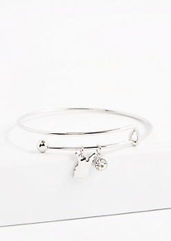 West Virginia Silver Crystal Charm Bangle