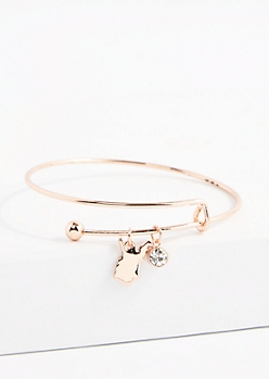 West Virginia Rose Gold Crystal Charm Bangle