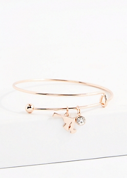 Maryland Rose Gold Crystal Charm Bangle