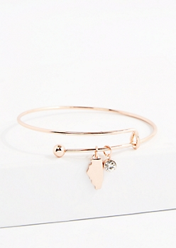 Illinois Rose Gold Crystal Charm Bangle