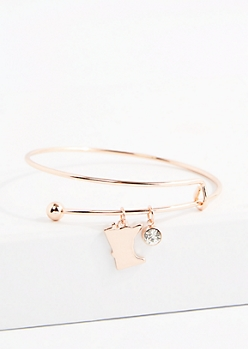 Minnesota Rose Gold Crystal Charm Bangle