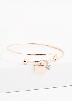 Iowa Rose Gold Crystal Charm Bangle