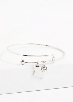 Missouri Silver Crystal Charm Bangle