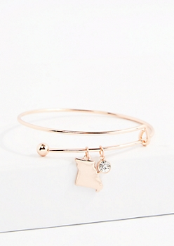 Missouri Rose Gold Crystal Charm Bangle