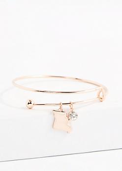 Missouri Rose Gold Crystal Charm Bangle