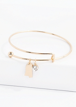 Gold Mississippi Crystal Charm Bangle