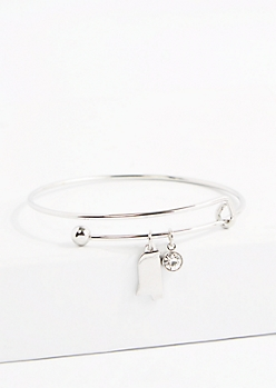 Mississippi Silver Crystal Charm Bangle