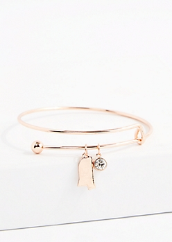 Mississippi Rose Gold Crystal Charm Bangle