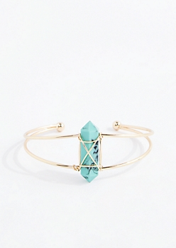 Turquoise Healing Stone Golden Wire Cuff