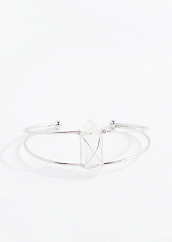 Iridescent Healing Stone Silver Wire Cuff