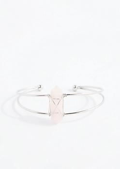 Pink Healing Stone Silver Wire Cuff