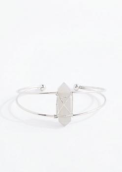 Gray Healing Stone Silver Wire Cuff