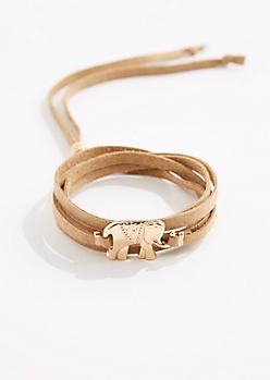 Elephant Sueded Wrap Bracelet