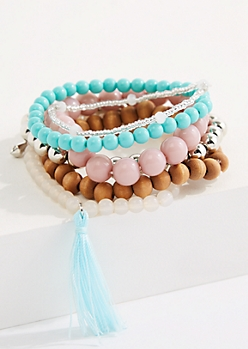 6-Pack Tassel Accent Beaded Bracelets