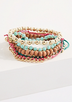 6-Pack Gold Accent Beaded Bracelets