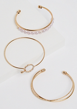 3-Pack Golden Pearl Bangle Set