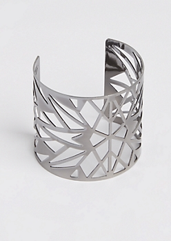 Metal Geometric Cut Out Open Cuff Bangle