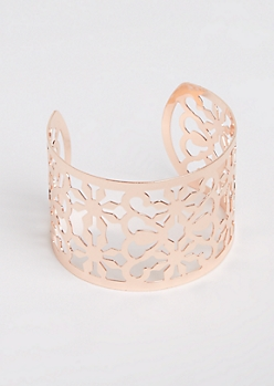 Rose Gold Floral Cut Out Open Cuff Bangle