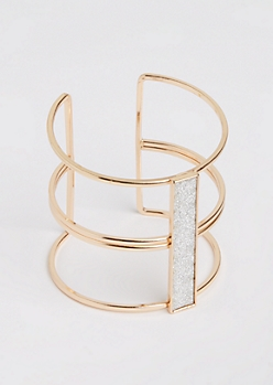 Gold Diamond Dust Open Cuff Bangle