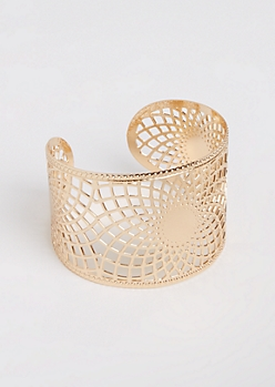 Gold Metal Filigree Open Cuff Bangle