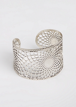 Silver Metal Filigree Open Cuff Bangle