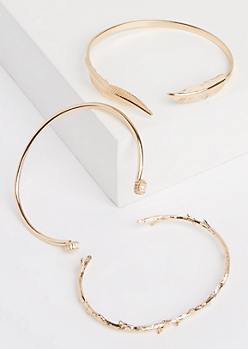 3-Pack Gold Leaf & Branch Open Cuff Bracelet Set