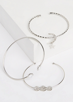 3-Pack Silver Open Cuff Bracelet Set