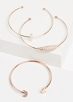 3-Pack Rose Gold Open Cuff Bracelet Set