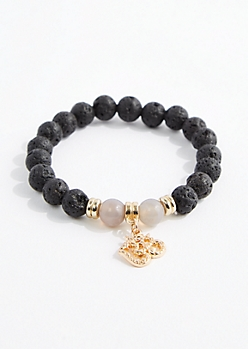 Smoky Quartz Lava Rock Bead Bracelet