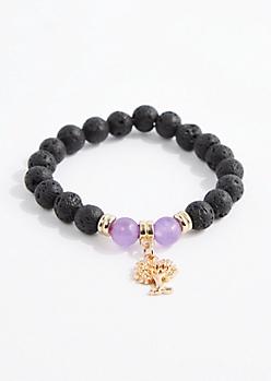 Amethyst Lava Rock Bead Bracelet