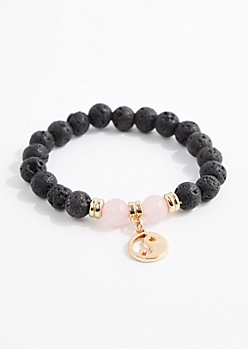Rose Quartz Lava Rock Bead Bracelet