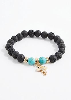Turquoise Lava Rock Bead Bracelet