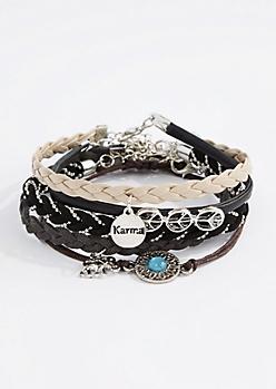 Peach Sign Braided Bracelet Set