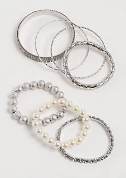 7-Pack Silver Pearl & Stone Bracelet Set