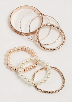 7-Pack Rose Gold Pearl & Stone Bracelet Set