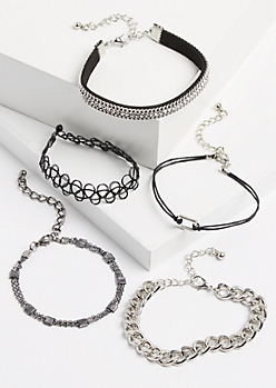 5-Pack Silver Metallic Studded & Chain Bracelet Set